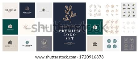 Floral and Botanical Feminine Logo set collection. Modern vector Template for florist, hand drawn beauty, organic cosmetics, spa, salon, photography, boutique, wedding. editable logo bundle female