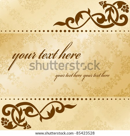 Floral arabesque background in sepia tones (eps10);  jpg version also available