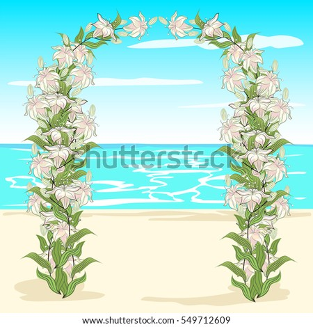 floral arch on the ocean shore