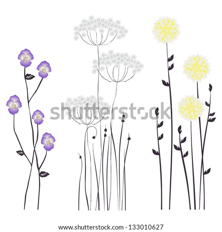 Floral background, blooming flowers - collection for designers - stock vector
