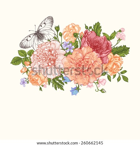 Floral background. Card with a bouquet of flowers and a butterfly. Peonies, roses, buttercups, peas. #260662145