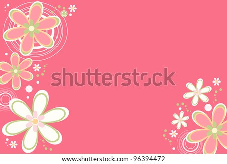 Floral background - Floral background with retro flowers and circle designs
