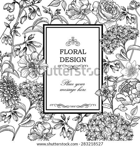 Floral  background. Flower bouquet vintage cover. Flourish card with copy space.
