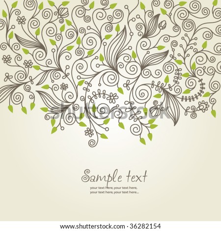 floral background, greeting card - stock vector
