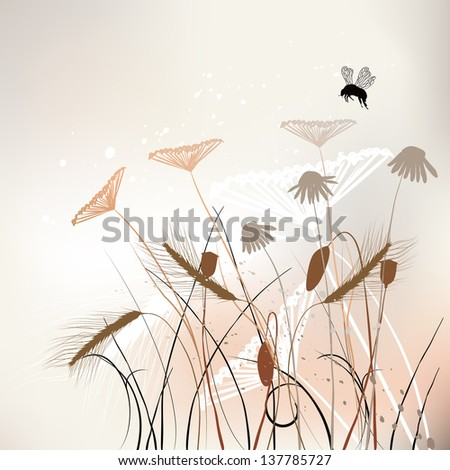 Floral background, meadow in summer time - vector