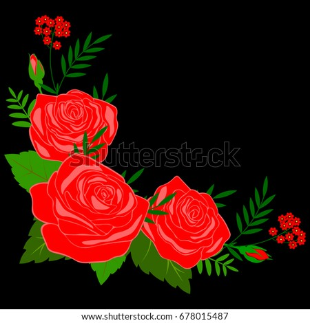 Floral background. Roses on a black background.