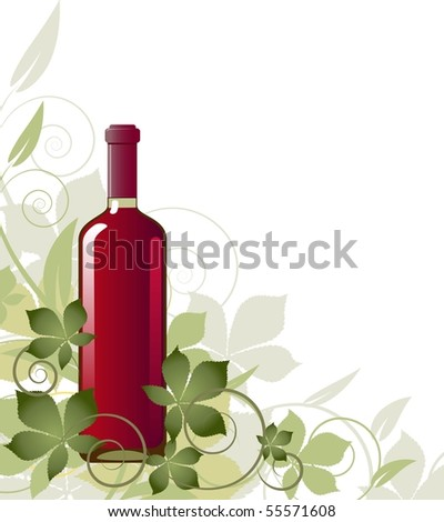 Floral background with a bottle of wine