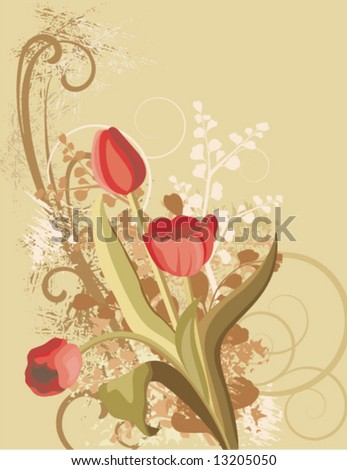 Floral background with a bunch of tulips and grunge details, vector illustration series. - stock vector