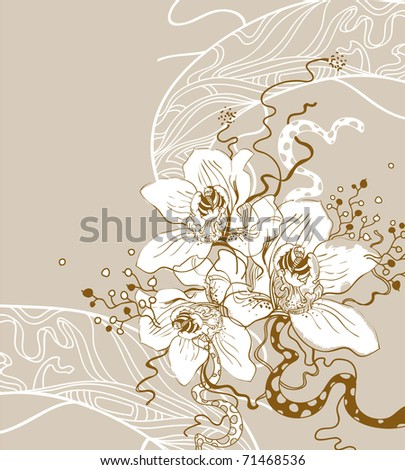 floral background with a gentle flavor of blooming orchids