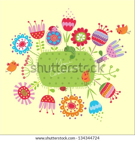 Floral background with birds and flowers