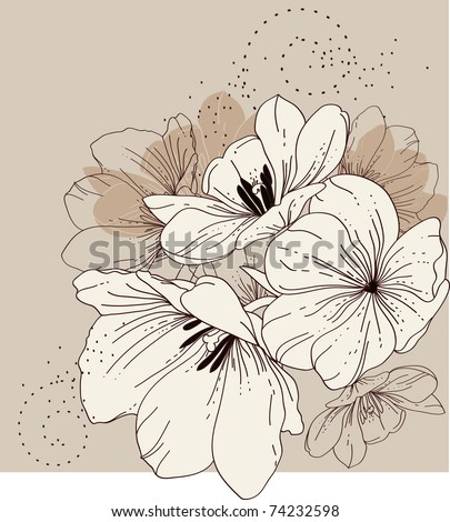 Floral background with blooming tulips - stock vector