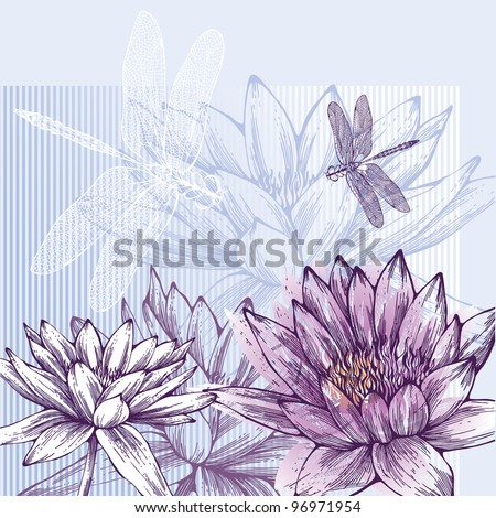 Floral background with blooming water lilies and dragonflies flying, hand-drawing. Vector. - stock vector