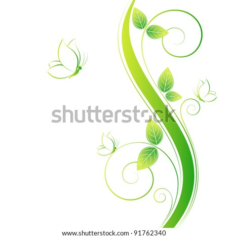 Stock Photo Floral background with butterflies. Element for design.