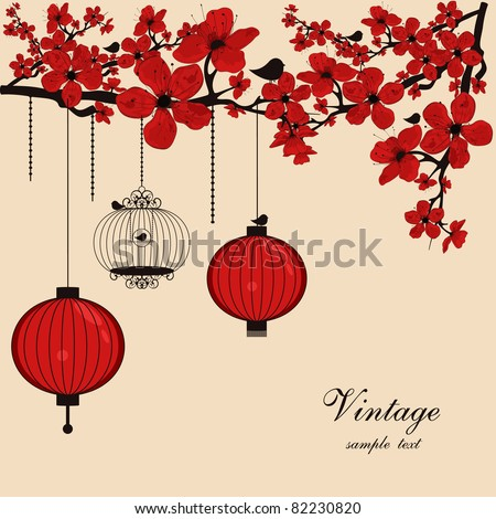 floral background with chinese