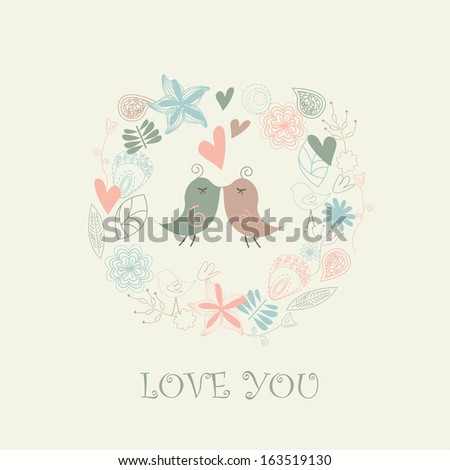Floral background with cute background in cartoon style