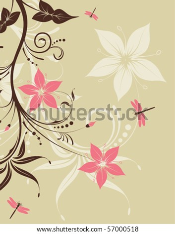 Floral Background with dragonfly, element for design, vector illustration