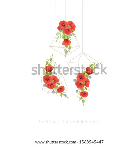 floral background with floral  red poppy flowers in terrarium