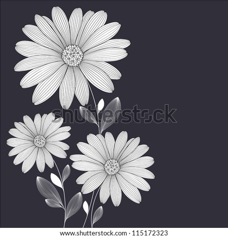 Floral background with flower daisy. Element for design. Vector illustration.