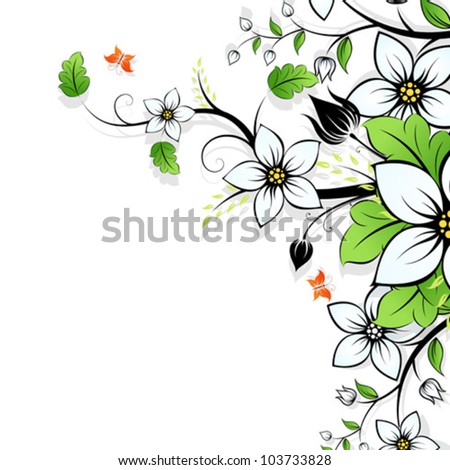 Floral Background with Flowers  and Leaves on white