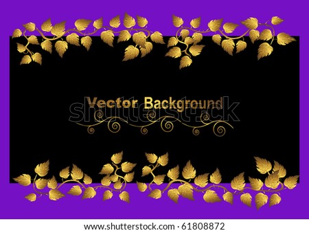 floral background with gold leaves. vector.
