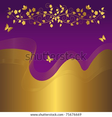 Floral background with golden banner. Vector.