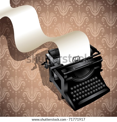 Floral background with illustrated typewriting machine. Vector illustration.