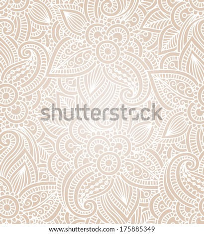 Floral background with indian ornament. Seamless pattern for your design wallpapers, pattern fills, web page backgrounds, surface textures.