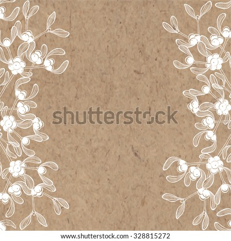 Floral background with mistletoe on kraft paper. Can be greeting card, invitation, design element.