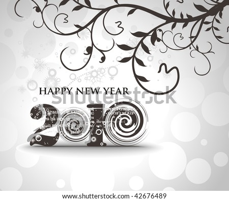 floral background with  new year 2010  in white background. Vector illustration