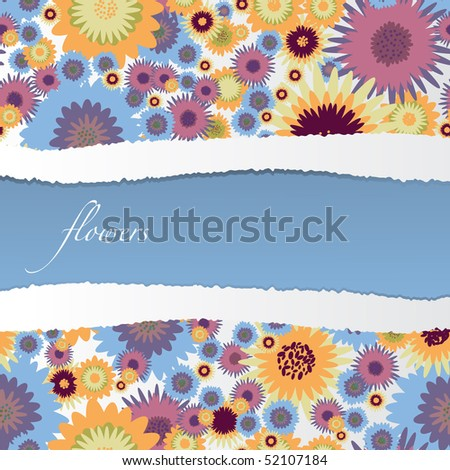 Floral background with torn paper - vector