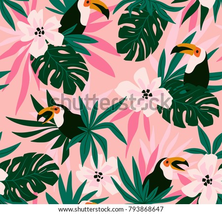 stock-vector-floral-background-with-tropical-flowers-leaves-and-toucans-vector-seamless-pattern-for-stylish