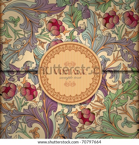 Floral Background with Vintage Label - stock vector