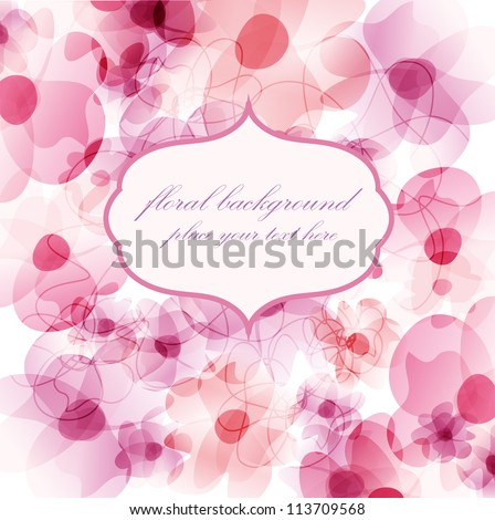 Floral background with watercolor pink flowers and frame for your text