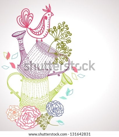 floral background with watering