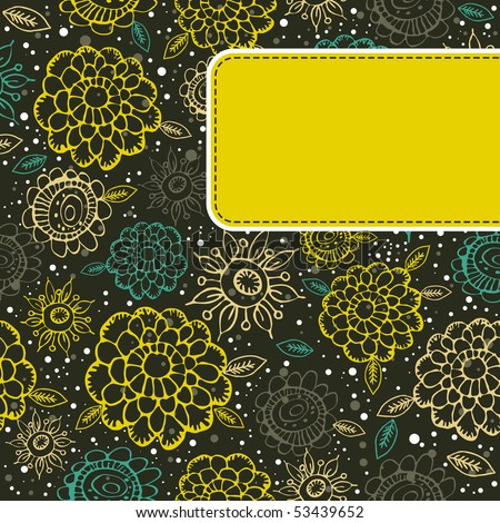 floral background with  yellow label, vector illustration