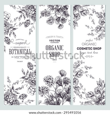stock-vector-floral-banner-collection-organic-shop-vector-illustration