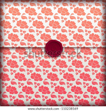 Floral banner, fancy flower paper with wax seal, eps10 illustration