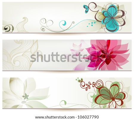 Floral banners vector retro style - stock vector
