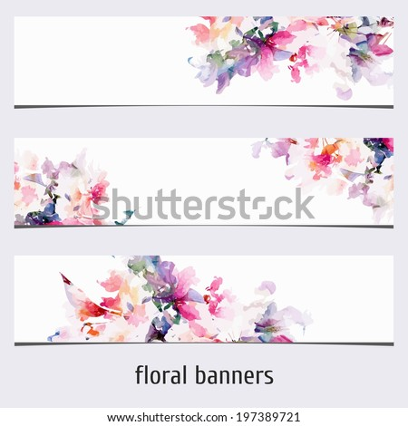 Floral banners. Watercolor floral background.