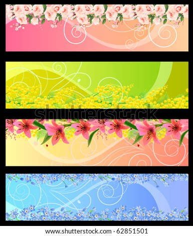 Floral banners with space for your text