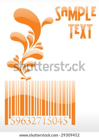 floral barcode with place in sample text