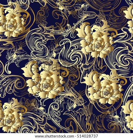 Floral Baroque Damask Seamless Pattern Vintage Decorative Antique Medieval 3d Gold Flowers Leaves And Ornaments