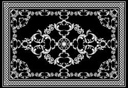 Floral baroque pattern for kilim rug, carpet. Rug, runner, mats, textile design. Geometric floral background. EPS10 Illustration.