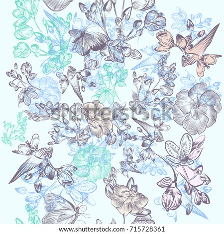 Floral beautiful pattern with flowers in victorian style