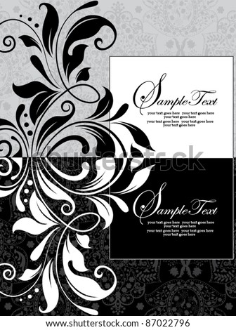 floral black and white invitation card