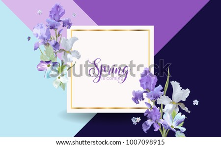 Floral Bloom Spring Banner with Purple Iris Flowers. Invitation, Poster, Greeting Card Flyer Template. Vector illustration