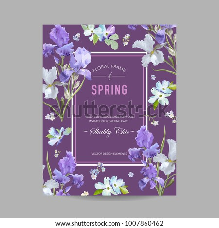 Stock Photo Floral Bloom Spring Frame with Purple Iris Flowers. Invitation, Poster, Greeting Card Flyer Template. Vector illustration