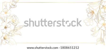 Floral border frame card template. Golden gradient on white background. Cherry, sakura, rose flowers. Vector design illustration.