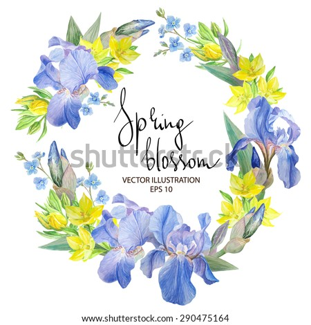 floral border with iris flowers
