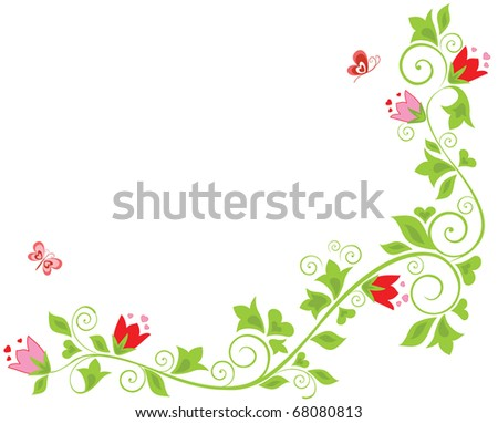Floral border with tulip